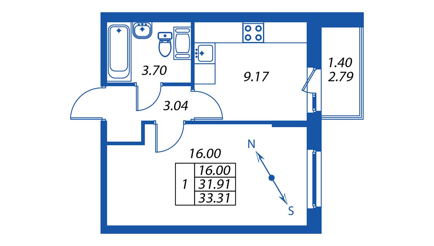 Планировка Однокомнатная квартира площадью 32.4 кв.м в ЖК ««ПаркЛэнд» корпус 1»