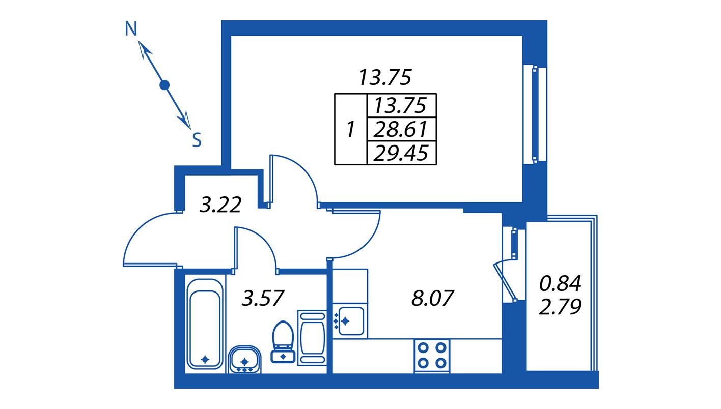 Планировка Однокомнатная квартира площадью 29.1 кв.м в ЖК ««ПаркЛэнд» корпус 1»