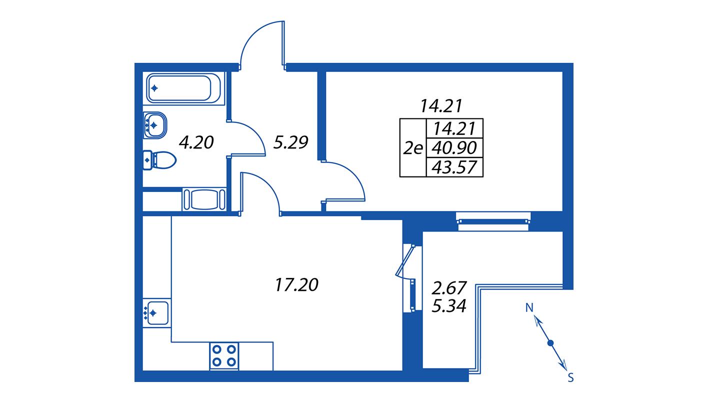 Планировка Двухкомнатная квартира площадью 40.7 кв.м в ЖК ««ПаркЛэнд» корпус 1»