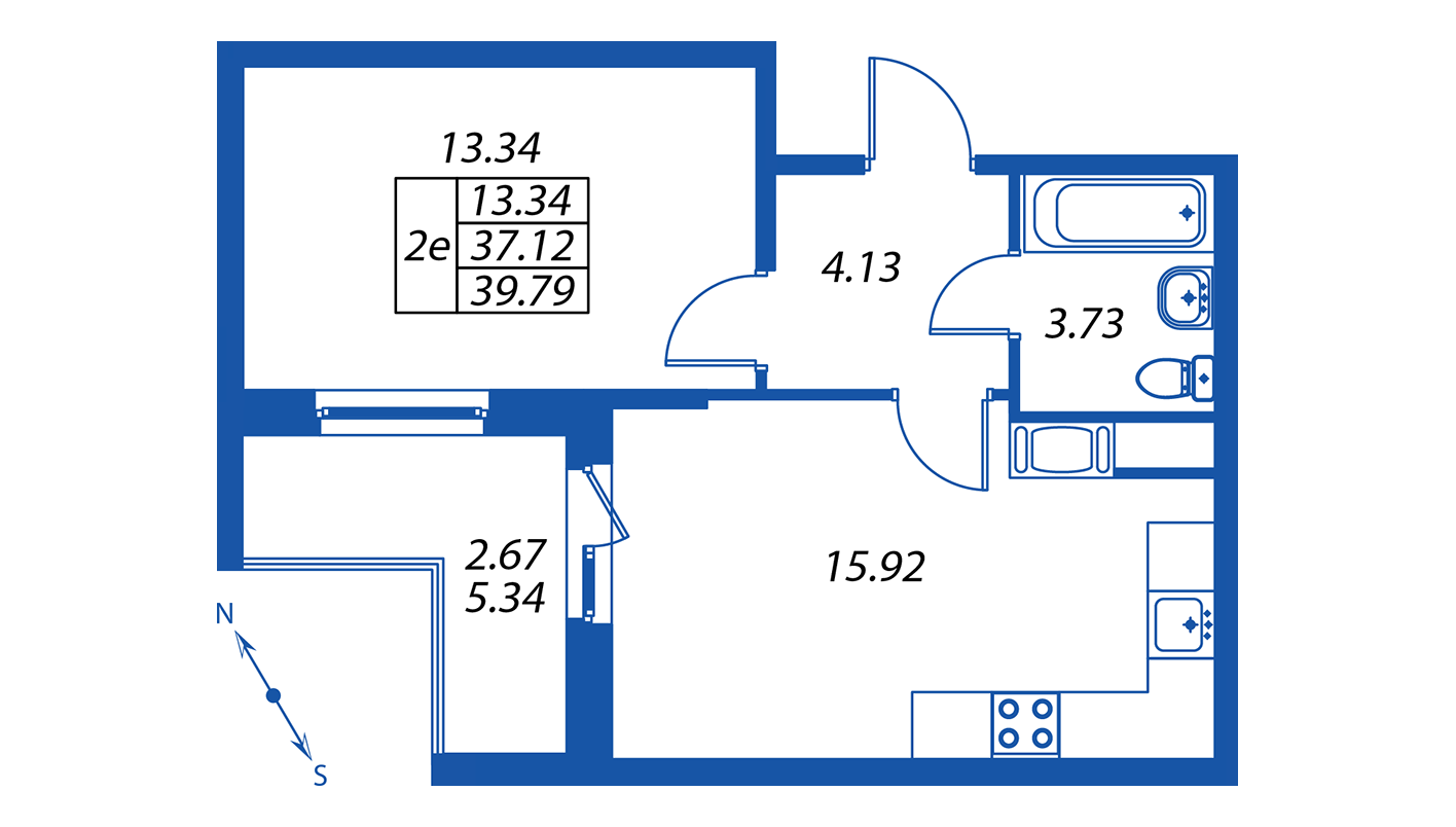 Планировка Двухкомнатная квартира площадью 38.1 кв.м в ЖК ««ПаркЛэнд» корпус 1»
