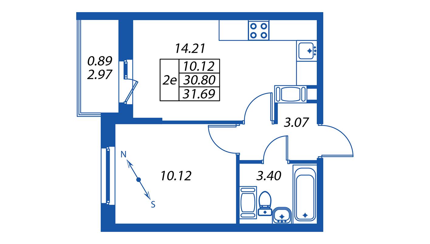 Планировка Двухкомнатная квартира площадью 31.4 кв.м в ЖК ««ПаркЛэнд» корпус 1»