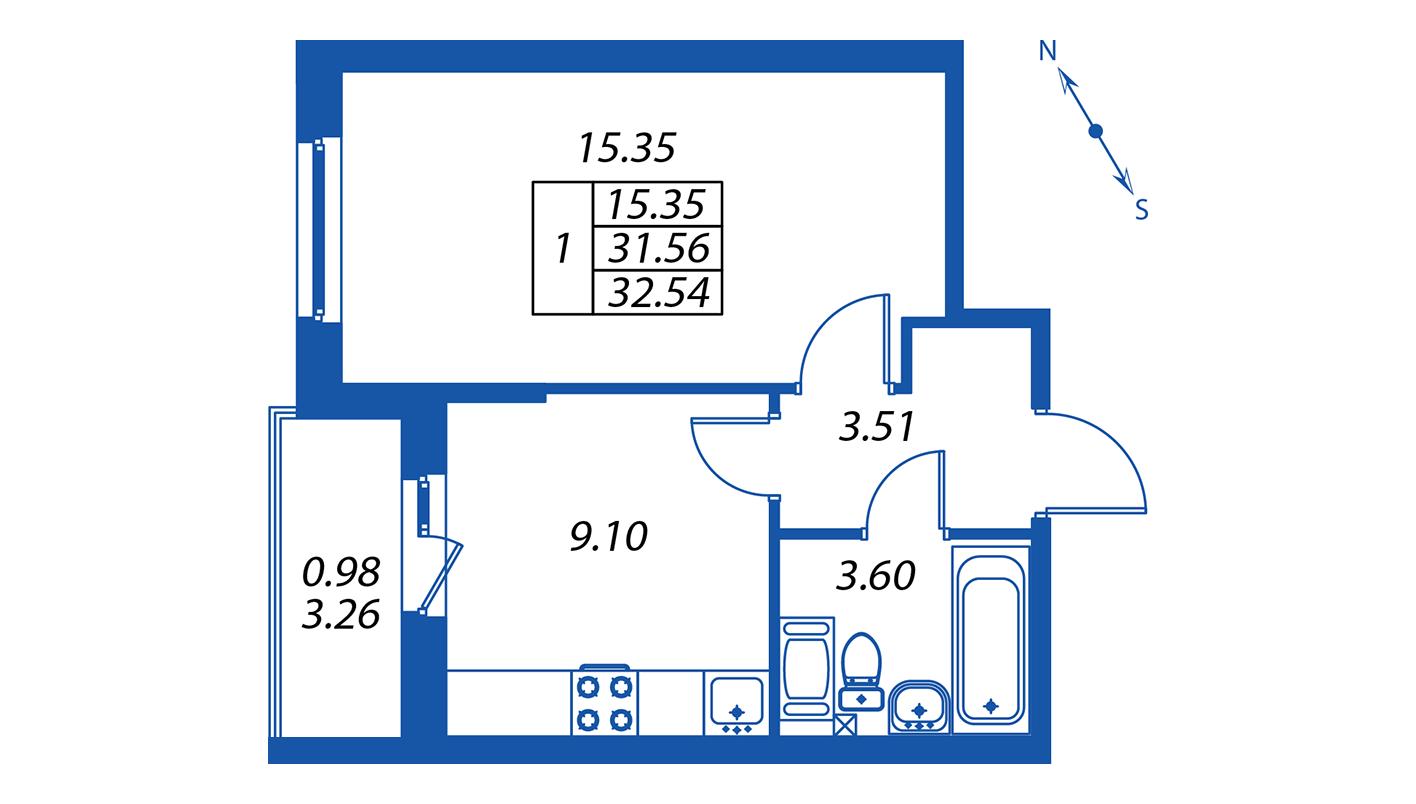 Планировка Однокомнатная квартира площадью 32.1 кв.м в ЖК ««ПаркЛэнд» корпус 1»
