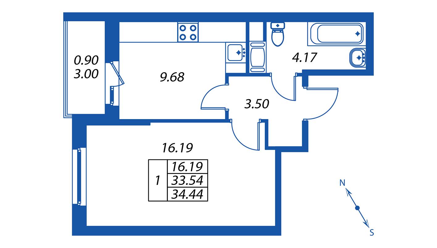 Планировка Однокомнатная квартира площадью 34.4 кв.м в ЖК ««ПаркЛэнд» корпус 1»